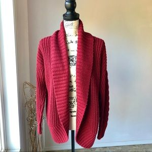 Mossimo Chunky Knit Sweater Open Cardigan Red L